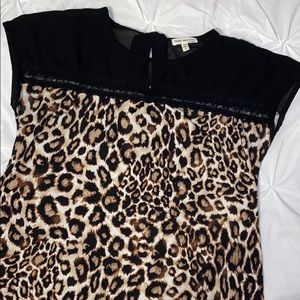 Faith and Joy Leopard and Sheer Lace Top Sz L